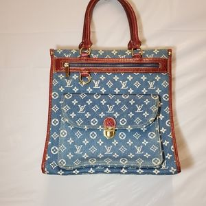 LV Washed Denim/Red Faux Leather Shopper with Gold